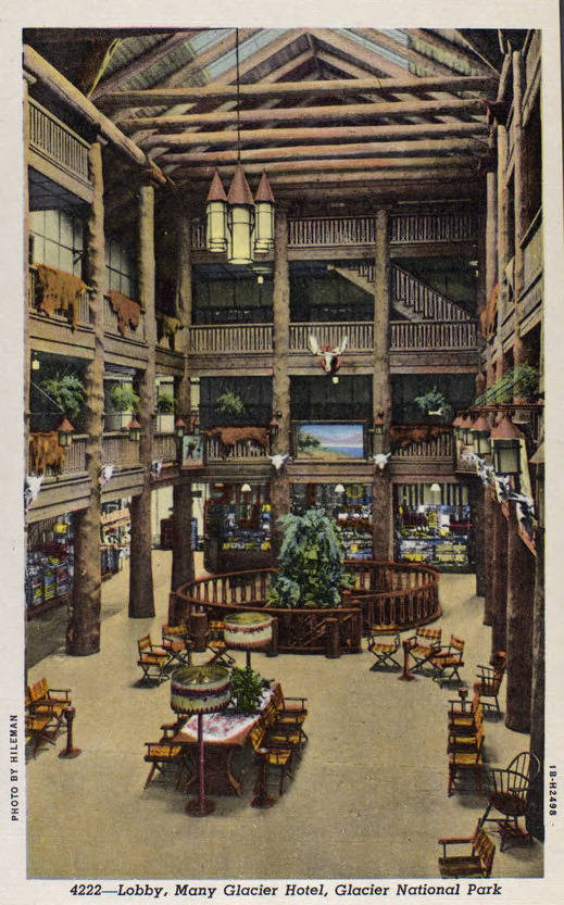 Postcard view of the main lobby of the Many Glacier Hotel in Glacier National Park, 1941