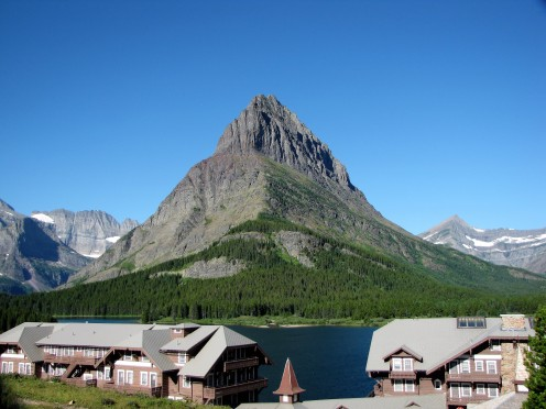 Grinnell Point above Swiftcurrent Lake and the Many Glacier Hotel, Glacier National Park, Montana