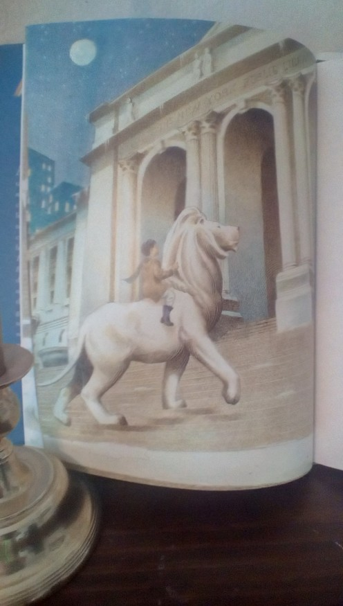 One of the iconic lions from the New York City Library takes the little boy on a magical trip to the library
