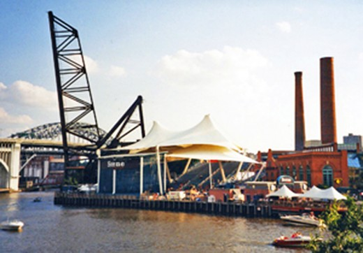 The Nautical Pavilion, on the west bank of the Cuyahoga River in The Flats of Cleveland, Ohio