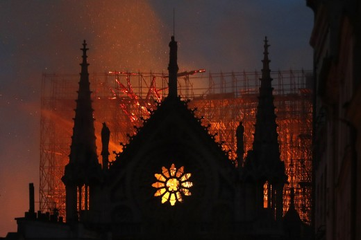 The fire casts a devilish glow.