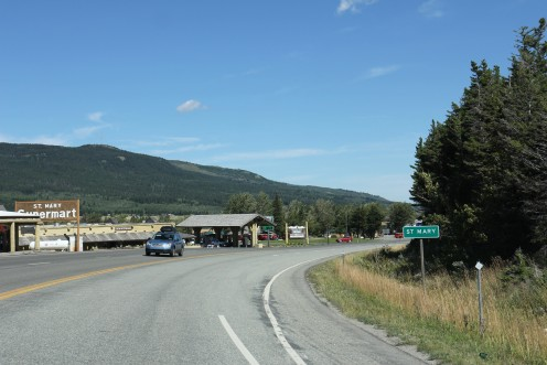 Looking north at the sign for w:St. Mary, Montana on U.S. Route 89.