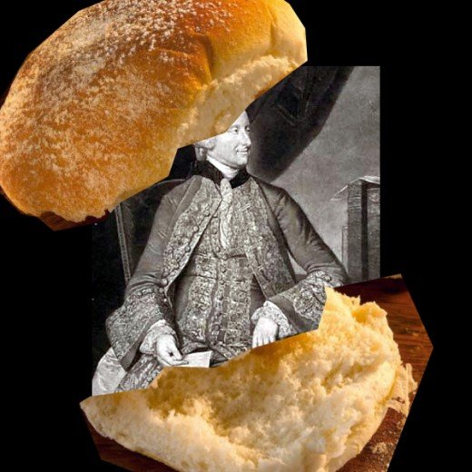 Sir John Montagu, the 4th Earl of Sandwich (in a sandwich)