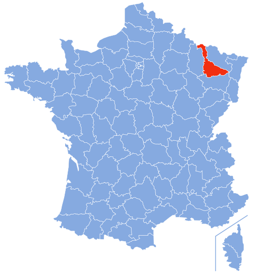 Map location of Meurthe-et-Moselle department, France