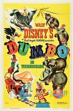 Dumbo 1941 poster.  Notice no humans depicted in this poster.