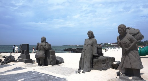 Statues on the beach.