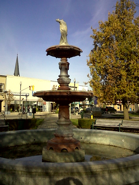 Pattullo's Fountain in front of the Woodstock Museum.