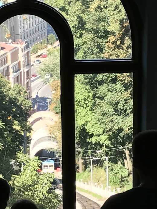 View from Inside of a Railcar of Kiev's Funicular