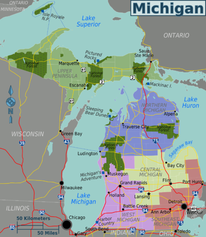 Wikivoyage map of Michigan regions