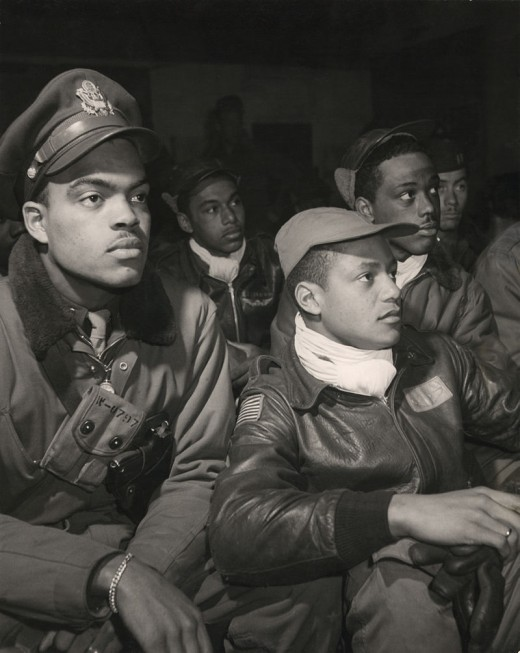 Tuskegee Airmen of the 332nd Fighter Group in WWII: Robert W. Williams,William H. Holloman III, Ronald W. Reeves, Christopher W. Newman, and Walter M. Downs.