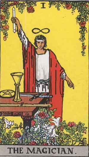 """The Magician"": Tarot card from the Rider-Waite tarot deck. Public Domain."