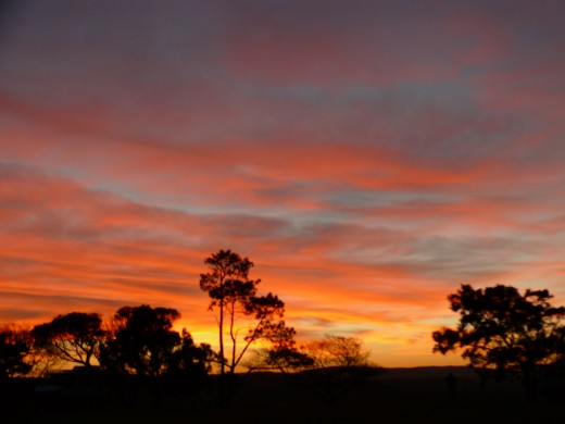 Sunset from the campsite at P J Olivier School fields