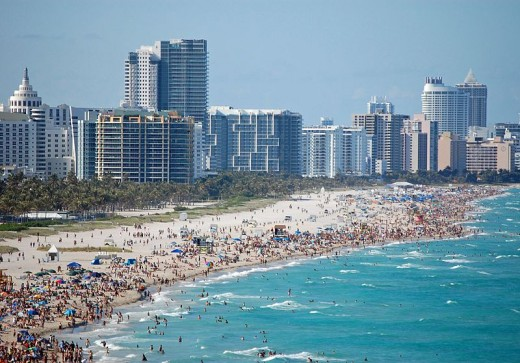 Florida has some very popular beaches, as evident by this photo of Miami Beach