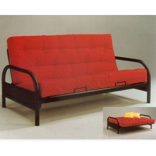 A futon sofa bed is a great addition for a studio apartment
