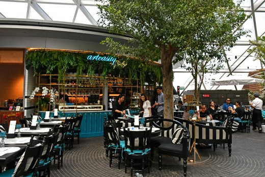 Garden-style dining at the top level of Jewel Changi Airport.