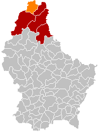 Map location of Troisvierges in Clervaux canton, Luxembourg.