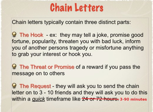 Three parts of a chain letter