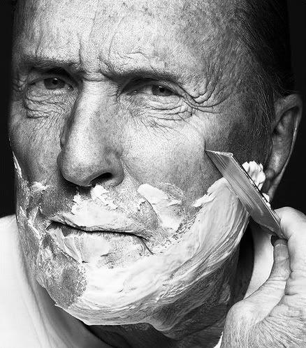 Robert Duvall, actor, uses straight razor.