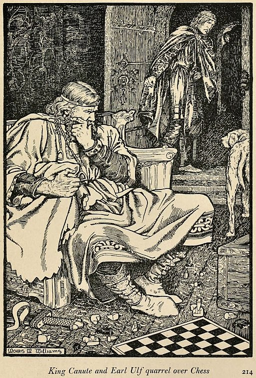 "King Canute.    Source: ""The Northmen in Britain."" By Eleanor Means Hull 1913. Illustration: M. Meredith Williams."