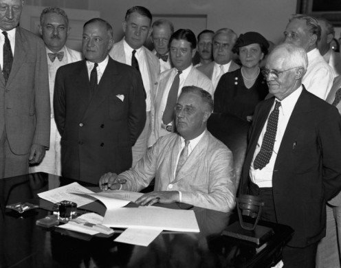 Franklin D. Roosevelt signed the Social Security Act.