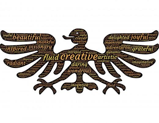A Mayan wood eagle sign expressing creativity and imagination.