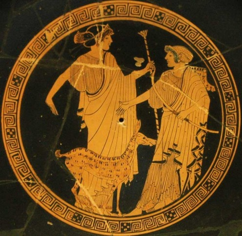 The god Apollo had wolves with him on the hunt.