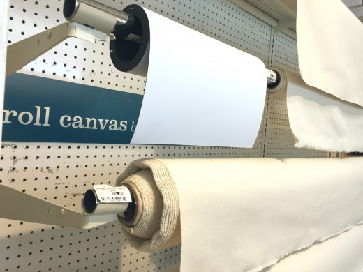 Canvas is sold by the yard at the art store.
