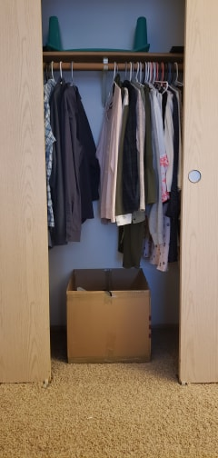 Putting a box on the floor of the closet for your hangers makes it easier to find hangers when you put away clothes.