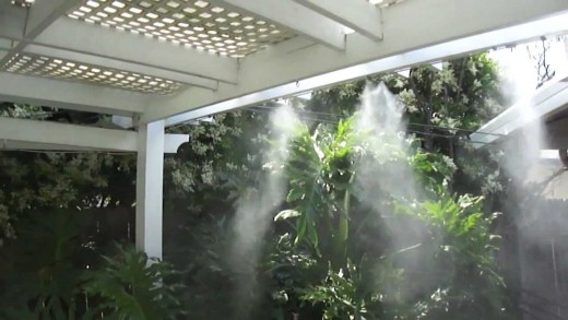 A patio misting system is useful in hot weather to lower the temperature of the area.