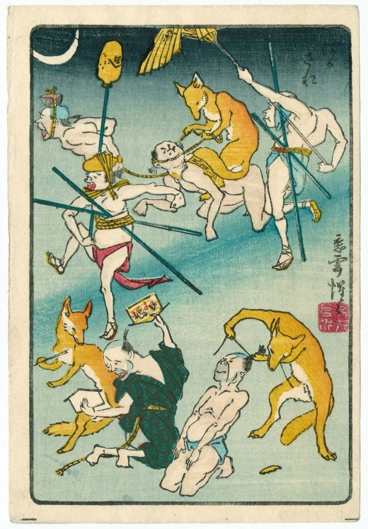 Men Tricked by Foxes, from the series One Hundred Pictures by Kyôsai (Kyôsai hyakuzu)