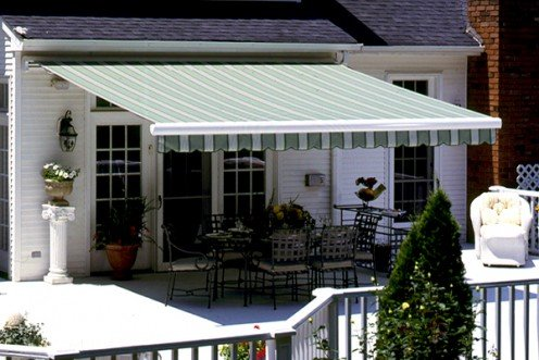 Rectractable awnings are hand cranked or motorized.