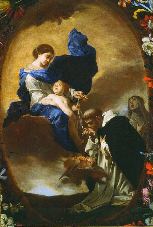 The Vision Of St. Dominic by Bernardo Cavallino(You see St. Dominic kissing the Rosary)