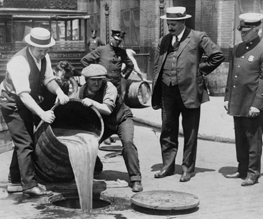 Dumping Alcohol from a Busted Speakeasy. Only public drinking was illegal, not private drinking in ones own home.