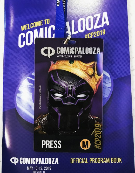 The press badge and program for the 2019 edition of Texas' largest pop culture and entertainment convention known as Comicpalooza.