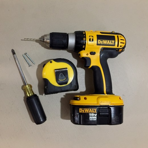 Simple tools needed. (Hand screwdriver or power drill.)