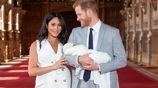 The Duke and Duchess of Sussex after the birth of their first child