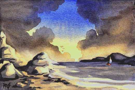 """Sail Away,"" watercolor, 5"" x 7"" painted by Robert A. Sloan. Writing is a voyage into a wonderful place... the inside of your own mind. No one knows you as well as you do. But they'll know you better and like you more when you bring out everything co"
