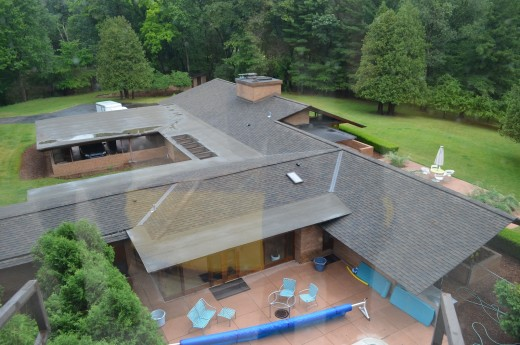 Donald Schaberg House from the air, another obscure but illustrative Wright domestic gem