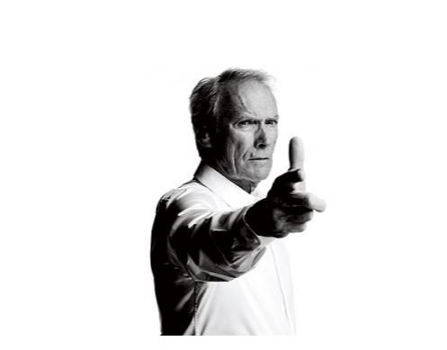 Cliint Eastwood shows how to point a gun at the camera.
