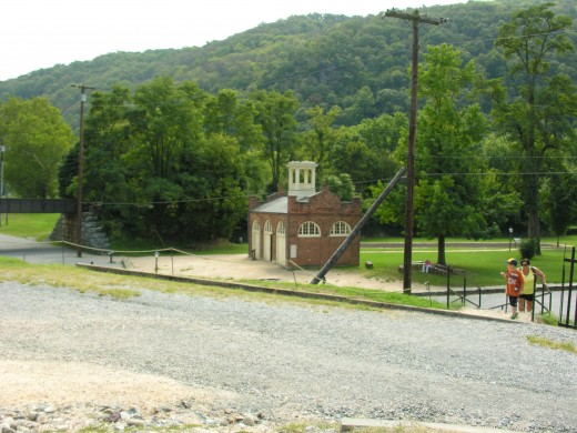 A view of the firehouse where John Brown and his raiders made their last stand from the viewpoint of where the firehouse stood at the time of the raid.  September 2016.