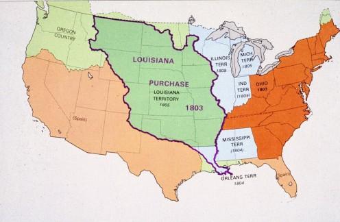 Map of Louisiana Purchase and Ohio 1803 Statehood