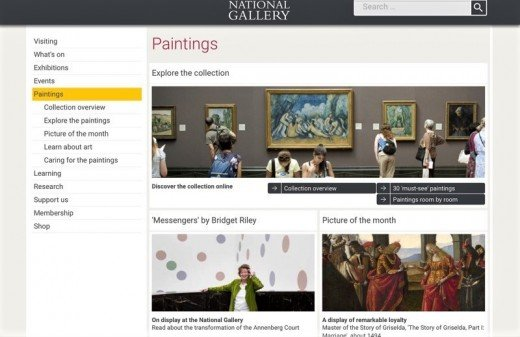 A screenshot of the Paintings section of the National Gallery website