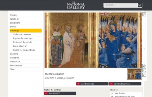 """Screenshot of the fourteenth-century """"Wilton Diptych"""" on the National Gallery website"""