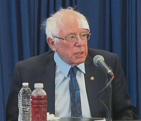 Bernie Sanders, incident with shower door received seven stitches.