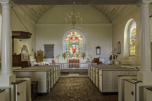 Interior of Old Swedes Church at 606 N Church Street, Wilmington, DE.  The attached cemetery contains 10,000 graves of 16th century settlers.