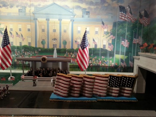 A moving diaorama of a Presidential Inaugural parade inside Mainstreet of Yesteryear, July 2013.