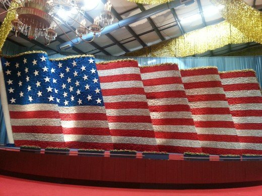 An American flag used in a Presidential Inaugural parade, July 2013.