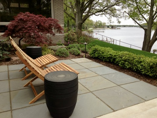 This private terrace patio is made out of 2x2' dimensional Bluestone patio tiles. There's plenty of space to accommodate two chairs, side tables and still move around freely.