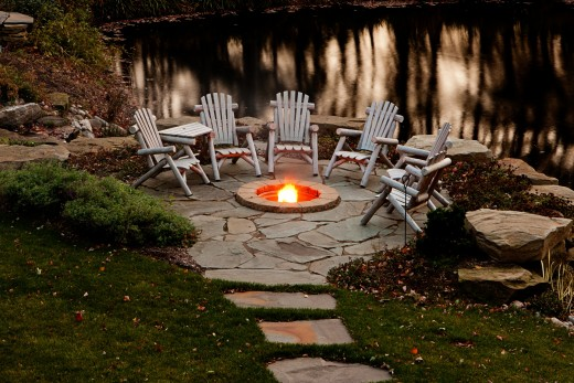A fire pit is a great focal point in a patio space.