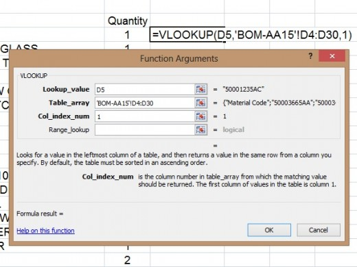 Column Index Number For Material Code As Final Outcome